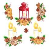 Grupo tradicional da aquarela de lanterna vermelha com vela e decoração do Natal ilustração stock