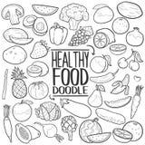 Grupo tradicional da tração da mão do ícone da garatuja do alimento saudável ilustração do vetor