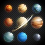 Grupo transparente realístico dos planetas Fotos de Stock