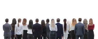 Grupo trasero de la visión de hombres de negocios Visión trasera Aislado sobre el fondo blanco Imágenes de archivo libres de regalías