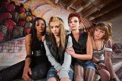 Grupo triste de muchachas Imagen de archivo libre de regalías