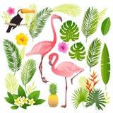 Grupo tropical Folhas de palmeira, plantas tropicais, flores, abacaxi, flamingo, tucano foto de stock royalty free