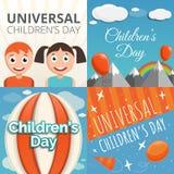 Grupo universal da bandeira do dia das crianças, estilo dos desenhos animados ilustração do vetor