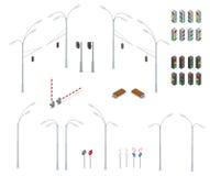 Grupo urbano do ícone dos objetos da rua de alta qualidade isométrica lisa da cidade 3d Sinal, luzes de rua, estrada da parada, b Imagens de Stock