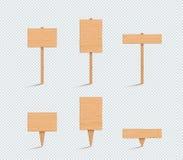 Grupo vazio da ilustração do vetor 3d da planície de madeira do sinal ilustração royalty free