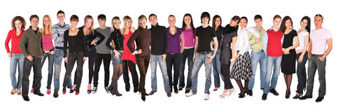 Grupo veintidós de la gente joven Imagenes de archivo