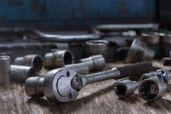 Grupo velho de ferramentas molhadas Fotos de Stock Royalty Free