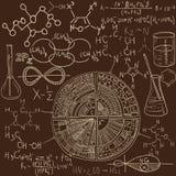 Grupo velho do teste padrão do laboratório de química Fundo do vetor do vintage Imagens de Stock Royalty Free