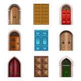Grupo velho do vetor dos ícones das portas ilustração royalty free
