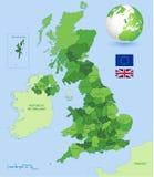 Grupo verde administrativo britânico do mapa Fotografia de Stock