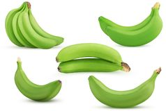Grupo verde ajustado das bananas, dois, únicos fotografia de stock royalty free
