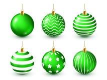 Grupo verde brilhante das bolas da árvore de Natal Decoração do ano novo Estação do inverno Feriados de dezembro Cumprimentando o ilustração do vetor