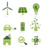 Grupo verde do ícone da energia imagens de stock