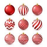 Grupo vermelho brilhante das bolas da árvore de Natal Decoração do ano novo Estação do inverno Feriados de dezembro Cumprimentand ilustração stock