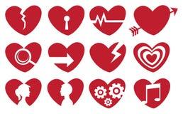 Grupo vermelho conceptual do ícone do coração Imagem de Stock Royalty Free