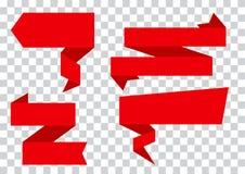 Grupo vermelho de bandeiras das fitas no fundo transparente Ilustração do vetor ilustração royalty free