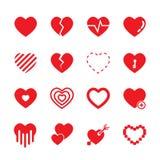 Grupo vermelho do ícone do coração ilustração do vetor