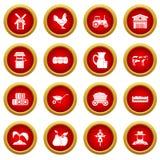 Grupo vermelho do círculo do ícone da exploração agrícola Fotografia de Stock Royalty Free