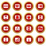 Grupo vermelho do círculo do ícone dos alimentos da navegação da loja Fotos de Stock