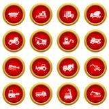 Grupo vermelho do círculo do ícone dos veículos da construção ilustração royalty free
