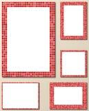 Grupo vermelho do molde da beira da página do mosaico do pixel Ilustração do Vetor