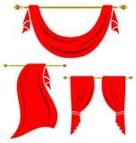 Grupo vermelho do vintage da cortina Imagens de Stock