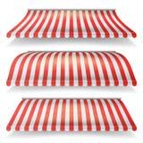 Grupo vermelho e branco clássico do vetor do toldo Toldo realístico da loja isolado na ilustração branca do fundo ilustração royalty free