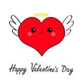 Grupo vermelho feliz do ícone da cabeça da cara do coração do dia de Valentim Caso amoroso de Angel Evil do diabo Asa nimbus do c ilustração stock
