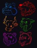 Grupo vicioso da tatuagem da cabeça do animal selvagem Ilustração Stock
