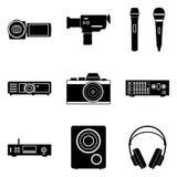 Grupo visual e audio do ícone Ilustração do vetor Imagens de Stock
