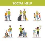 Grupo voluntário dos povos da ajuda Coleção da caridade ilustração royalty free