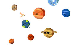 Grupos da ilustração: Os planetas felizes no sistema solar isolado Fotos de Stock