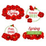 Grupos das flores da mola do vetor para citações de cumprimento ilustração royalty free