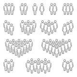 Grupos de ícones dos homens e das mulheres ilustração royalty free