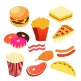 Grupos de arte do Fastfood Imagens de Stock