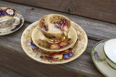 Grupos de chá do estilo do vintage imagem de stock royalty free