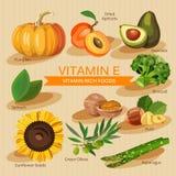 Grupos de fruto, de vegetais, de mim vitaminas e de alimentos saudáveis de minerais Projeto gráfico dos ícones lisos do vetor Ilu Imagens de Stock Royalty Free