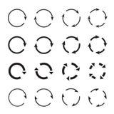 Grupos de setas pretas do círculo Ícones do vetor Foto de Stock