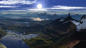 Grupos de Sun entre dois picos ilustração stock
