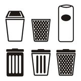 Grupos do ícone do balde do lixo Imagens de Stock Royalty Free