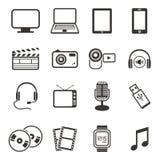 Grupos do ícone dos multimédios Fotos de Stock