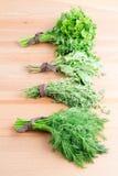 Grupos do aneto, do tomilho, da hortelã e da salsa frescos em um woode claro Fotos de Stock Royalty Free