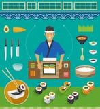Grupos do cozinheiro chefe e do Cookware de sushi, Maki Sushi Fotos de Stock