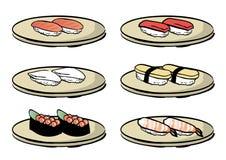 Grupos do prato do sushi vários - tipo de madeira do prato ilustração do vetor