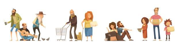 Grupos dos sem-abrigo do grupo ilustração royalty free