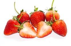 Grupowa Świeża Czerwona truskawka na białym tle Obraz Stock