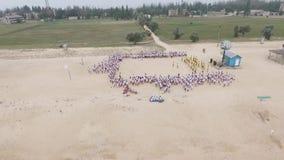 Grupowa choreografia na plaży powietrzny Bulgaria halny fotografii strandja zbiory wideo