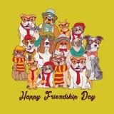 Grupowa moda najlepszych przyjaciół zwierząt domowych zabawy zwierząt zielona karta ilustracji