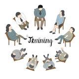 Grupowa terapia, psycholog doradza ludzi z różnorodnym phobi royalty ilustracja