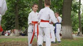 Grupowe chłopiec i dziewczyny w kimonie trenuje w parku uczestniczą karate i przerzedżą walkę outdoors, sztuki samoobrony, sport  zbiory wideo